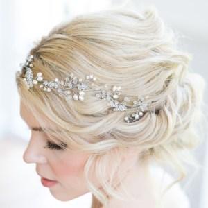 Sparkling wedding hairvine with pearls - Fern