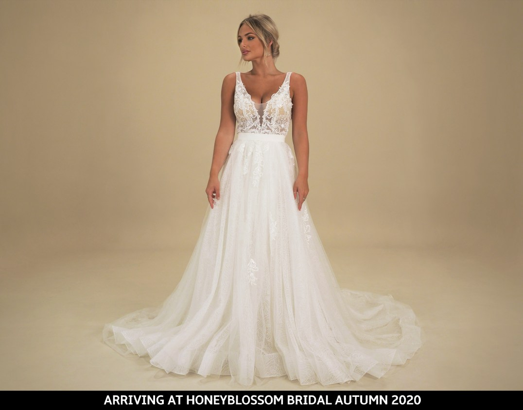 GAIA Portofino wedding gown arriving soon to Honeyblossom Bridal boutique