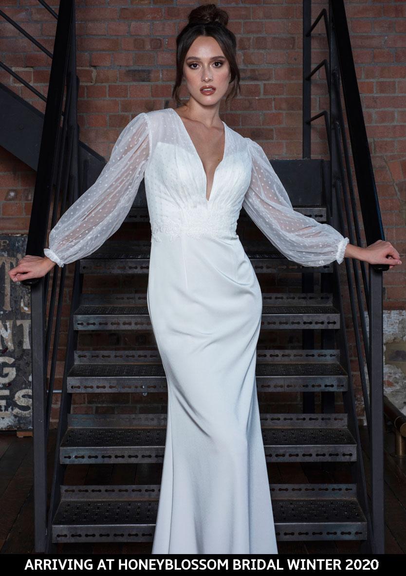 Freda Bennet Marcie wedding gown arriving soon to Honeyblossom Bridal