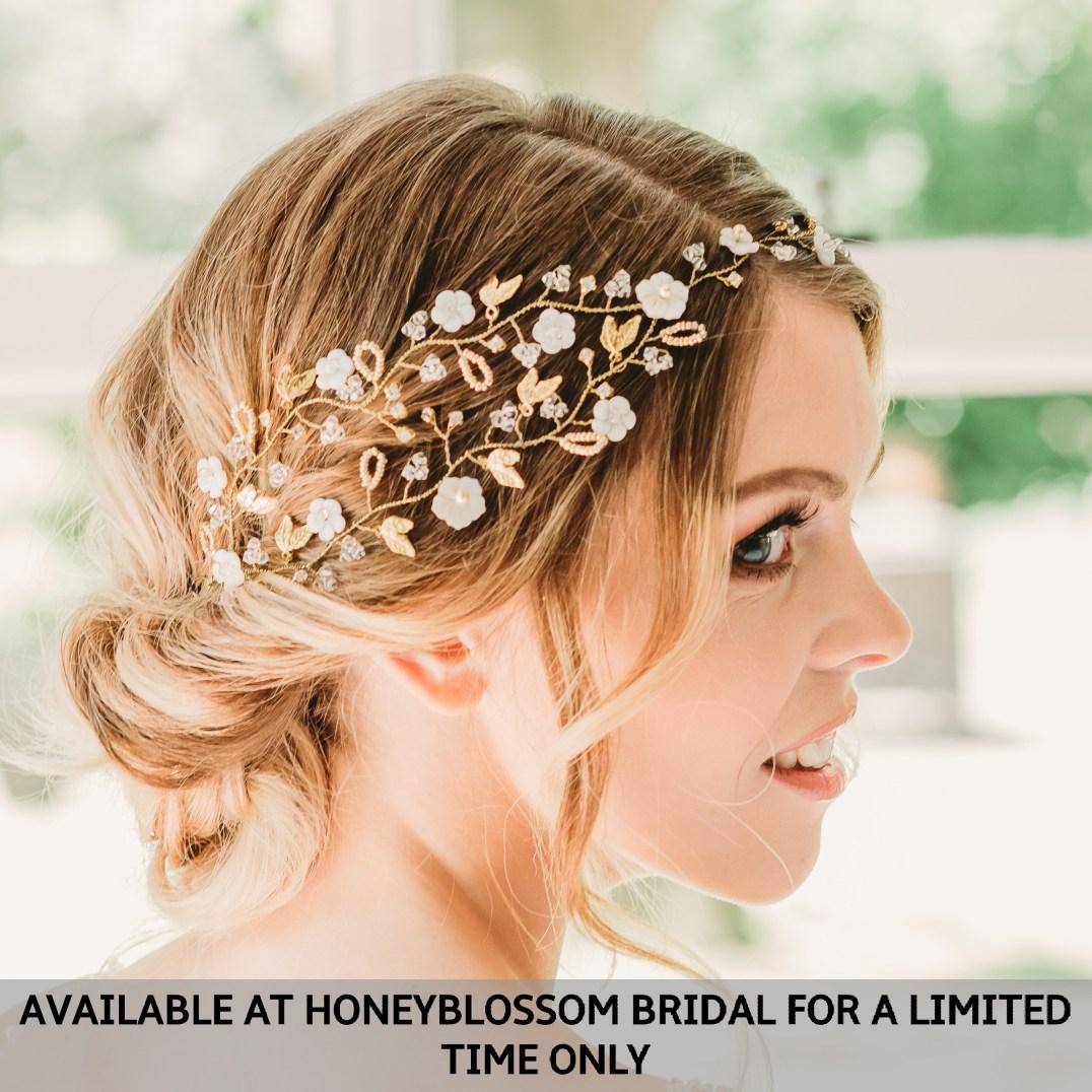Rachel Chaprunne gold and pearl bridal hair vine - Georgia