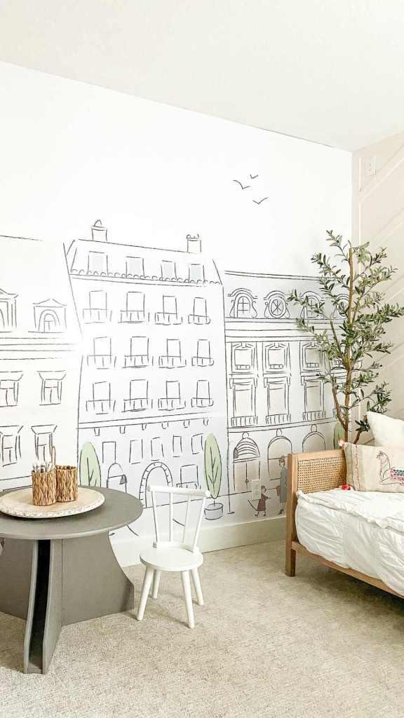 herringbone accent wall. Decorative mural accent wall