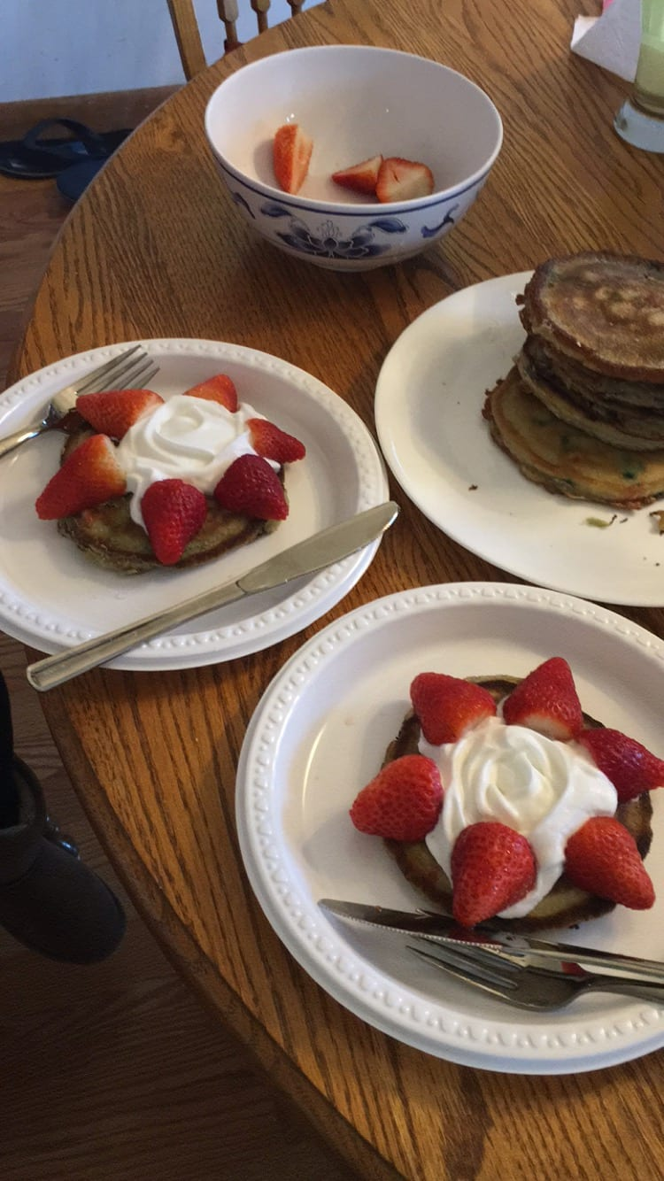 funfetti pancakes strawberries whipped cream