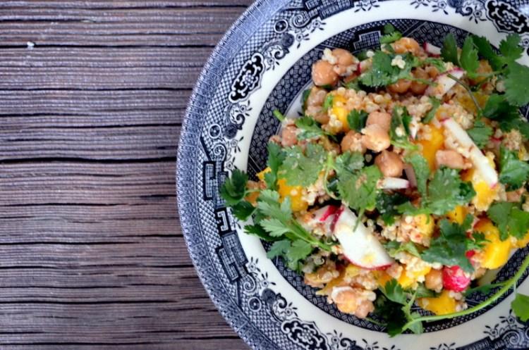 Chickpea and Quinoa Salad with Cashew Chutney