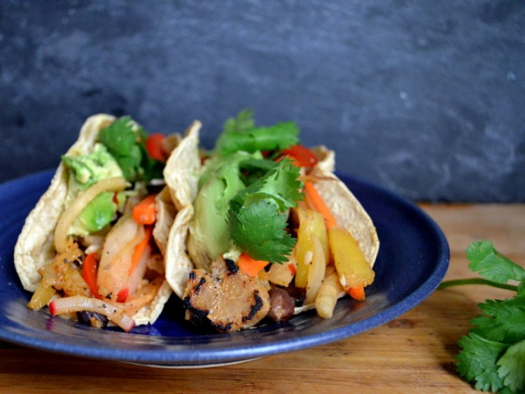 Seitan Jicama and Pineapple Tacos