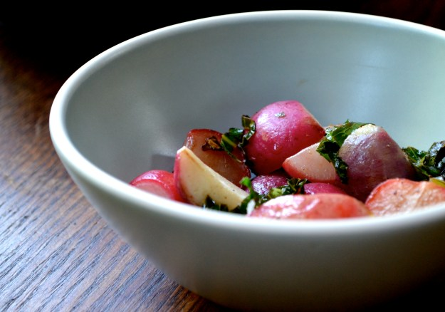 Radishes in Blue Bowl