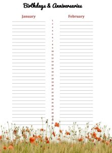 Honeycup Waters Birthday and anniversary annual planner interior