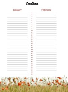 Honeycup Waters annual planner book interior pages