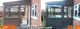 WOODEN CONSERVATORY REPAIRED & PAINTED