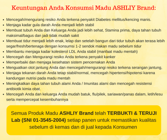 Keuntungan Manfaat Madu Mentah ASHLIY Honey ASHLIY Brand