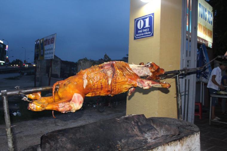dog meat vietnam spit roast