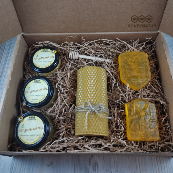 Подарочный набор с мёдом «Шеврон» (мужской)