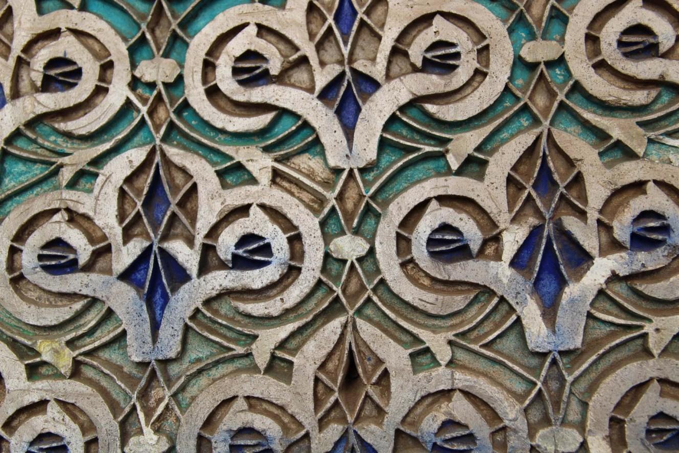 Indigo blue Moorish decoration in Marrakech Dar Si Said