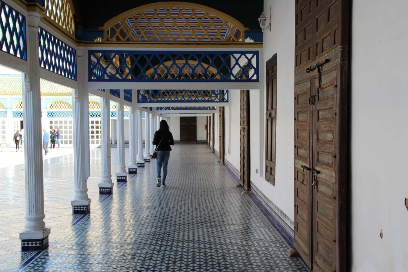 Under a porch in Bahia Palace, Marrakech
