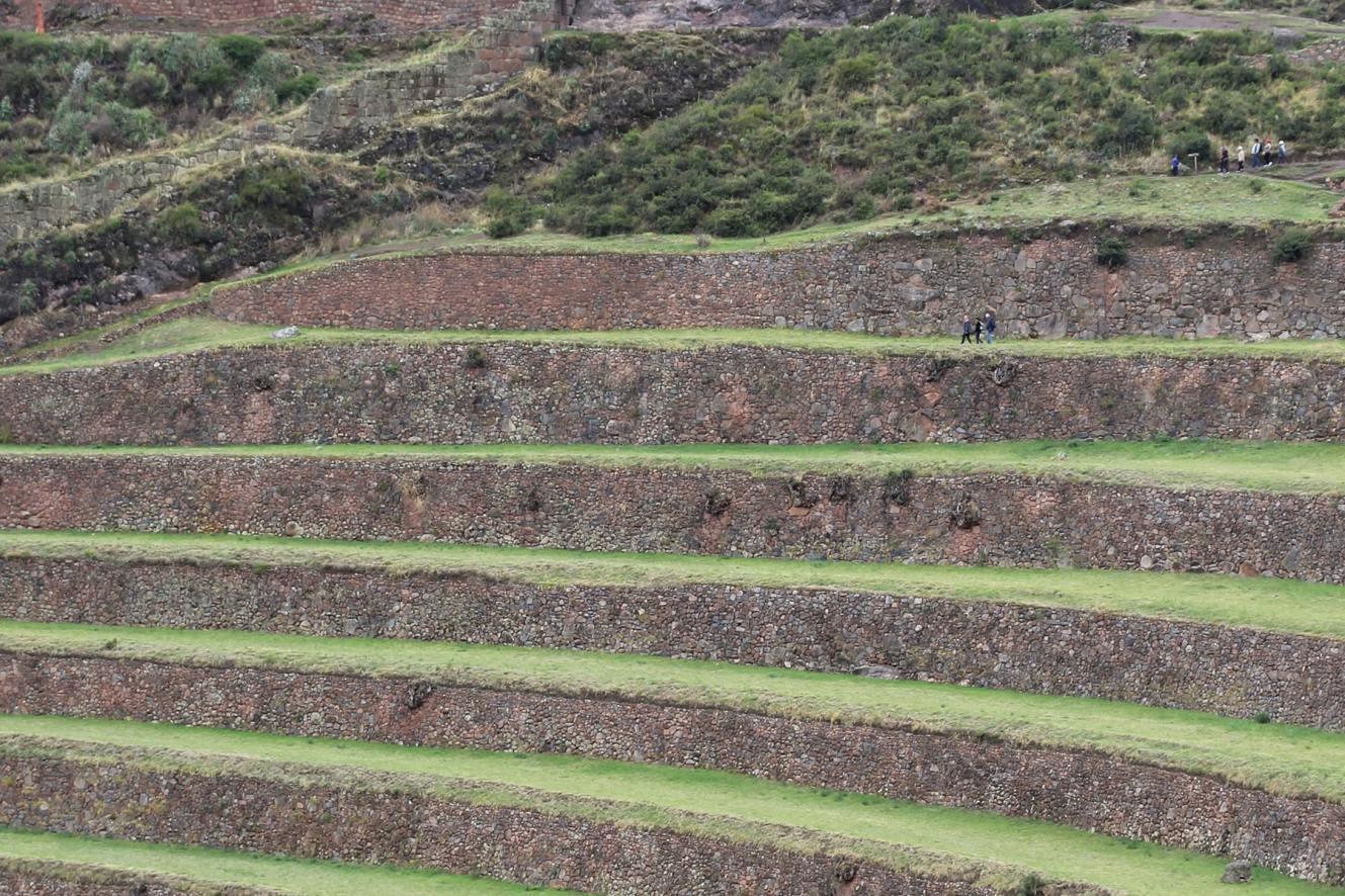 Terraces of Pisac people walking Pisac