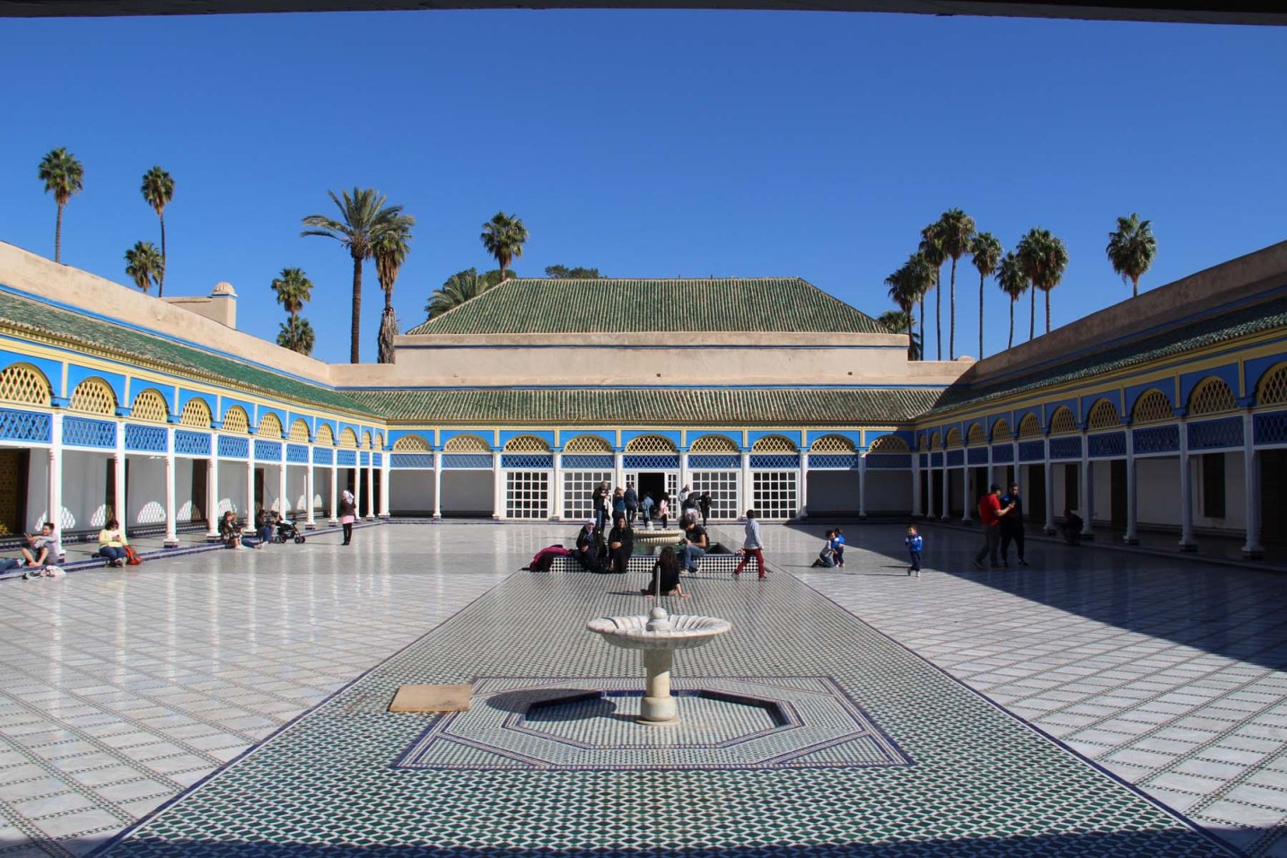 Courtyard with fountain in the Bahia Palace in Marrakech