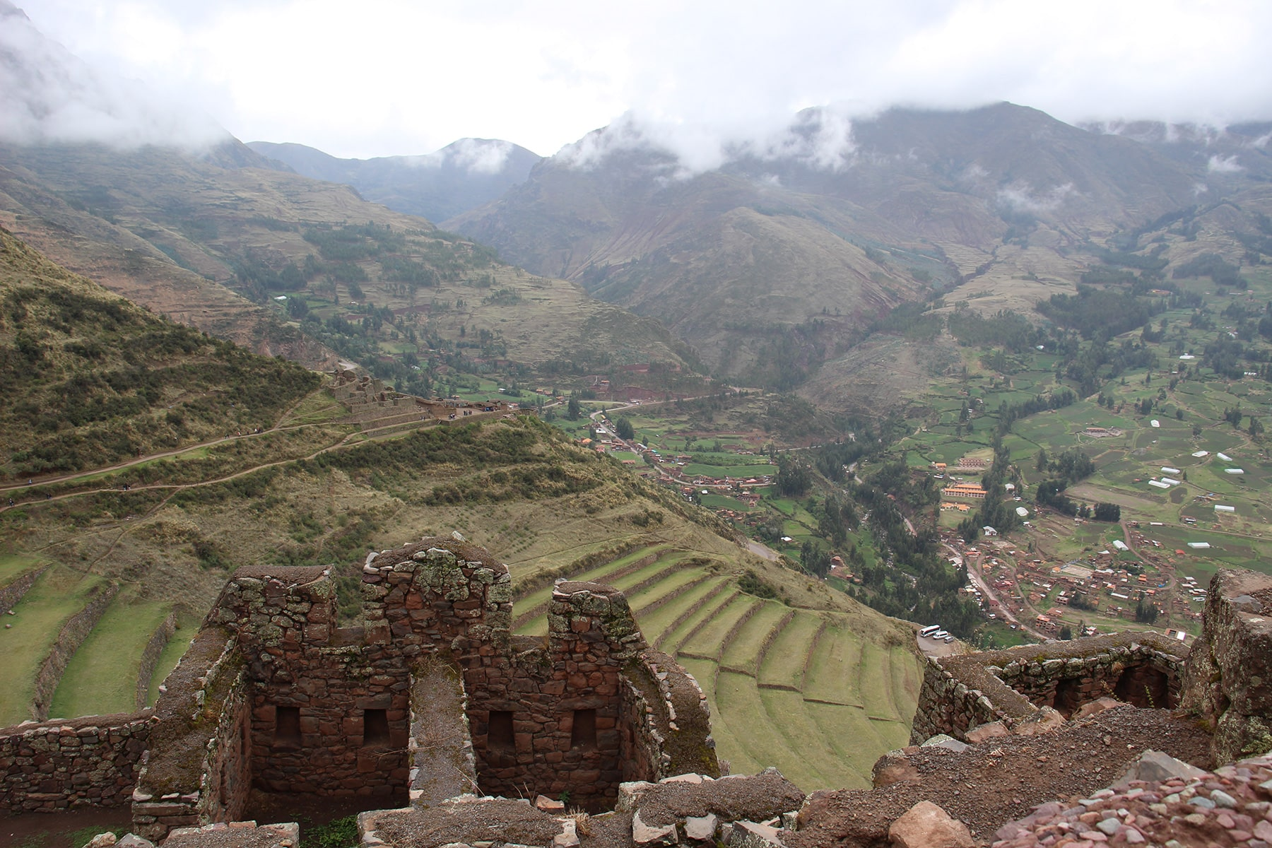 Pisac view on terraces from ruins