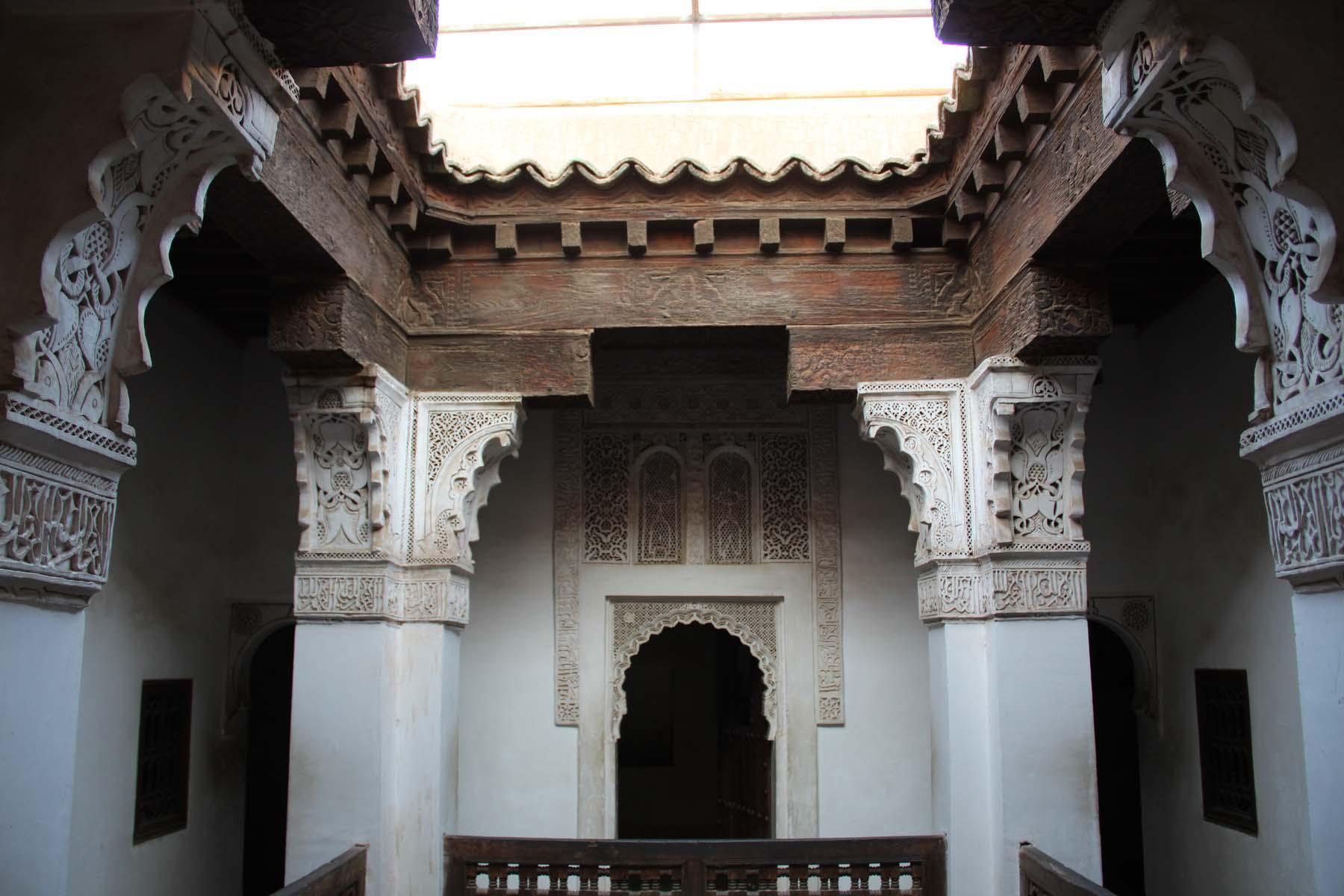 Dorms ceiling in the Ben Youssef Madrasa in Marrakech