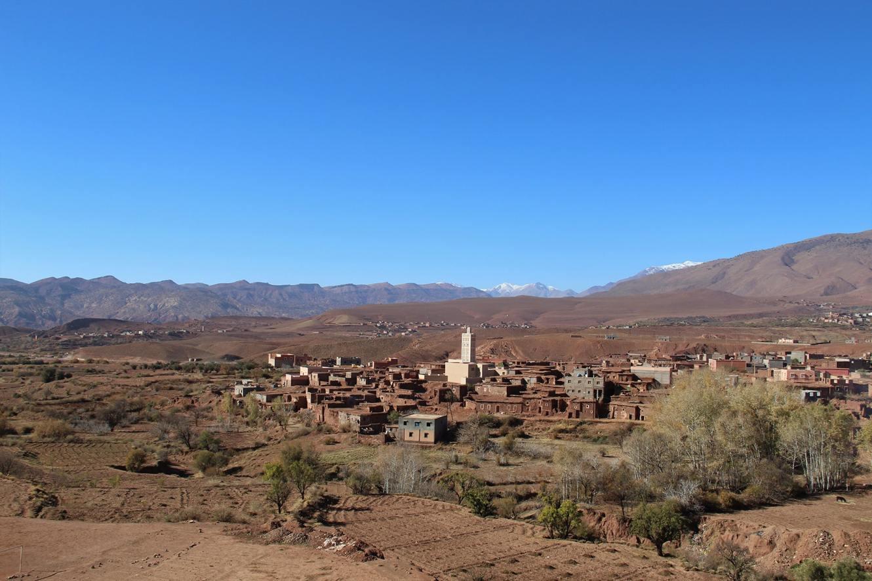 Vista del villaggio di Telouet dalla Kasbah
