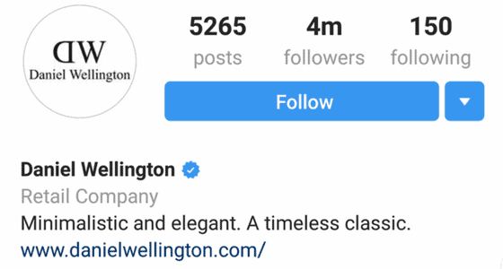 Daniel wellington instagram profile with four million followers and concise bio