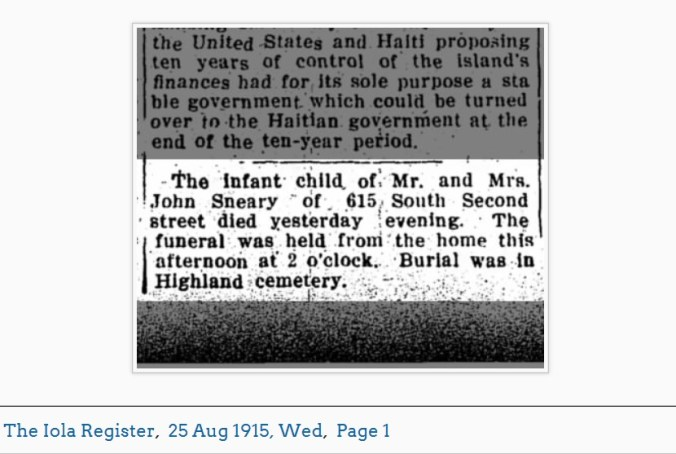 Infant Sneary Obituary