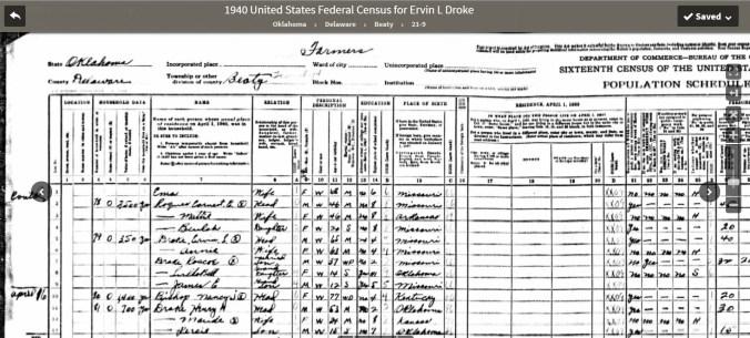 Alonzo Ervin Drake 1940 census