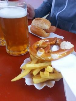 Bockwurst, Brezel, und Pommes! The German way