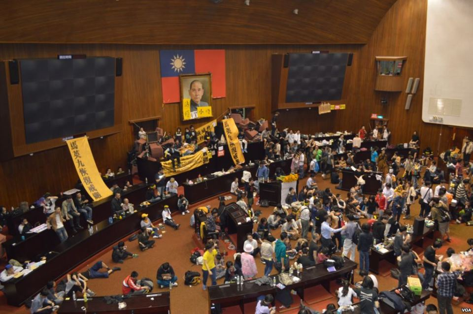 Student protesters occupy Taiwanese legislature during Sunflower Movement