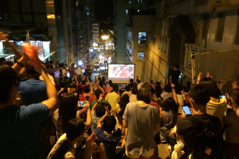 Football fans gathered for a community screening in Kennedy Town.