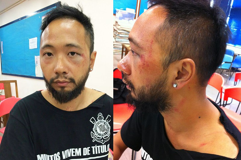 Seven police officers allegedly beating up Civic Party member Ken Tsang during Occupy protest last year
