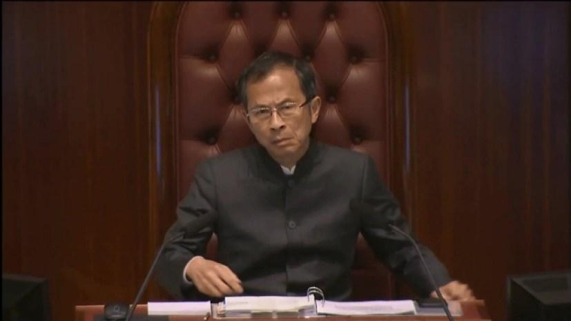 LegCo president Jasper Tsang when he announced the meeting was adjourned.