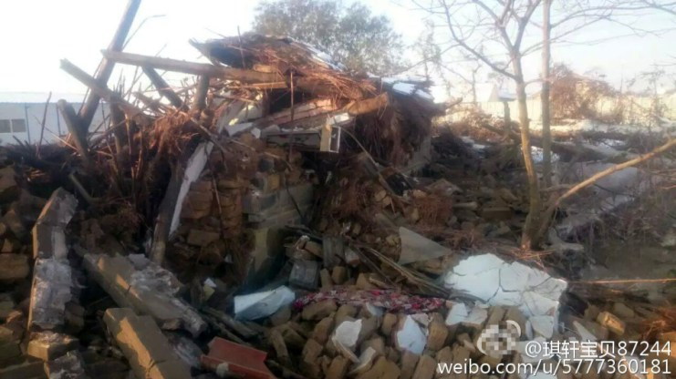 The Songs' home was forcefully demolished. Photo: Weibo.