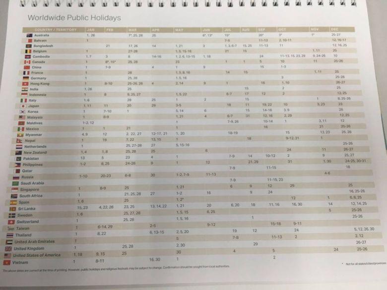 Cathay Pacific calendar.