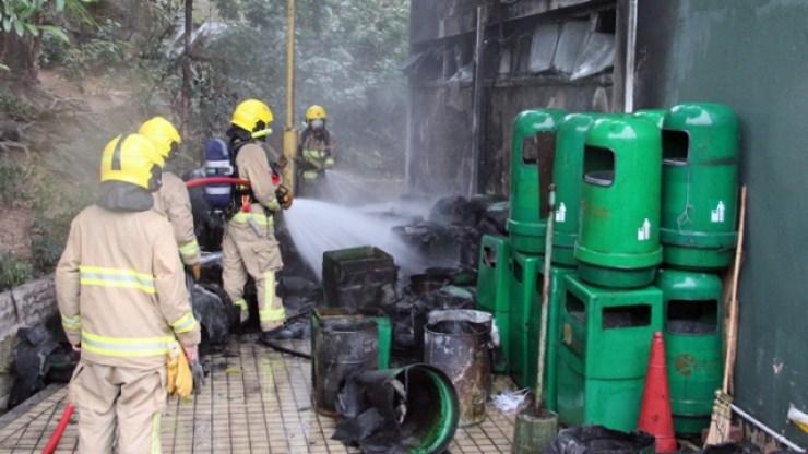 rubbish bins fire