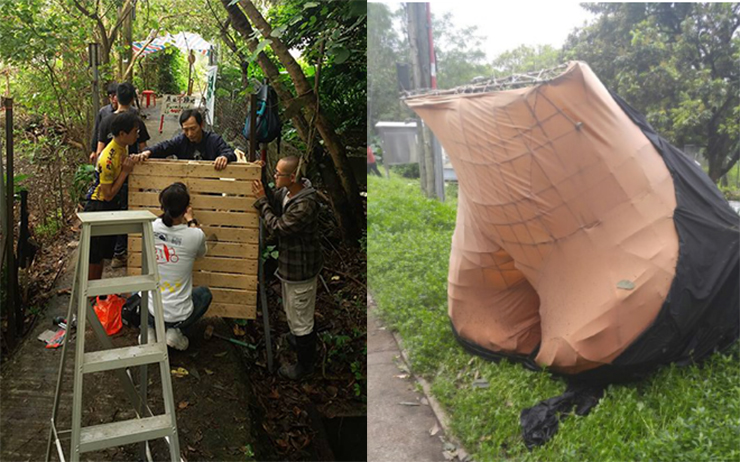 """Activists building building wooden barricades; an """"ass"""" structure built by activists claiming to be for Henderson's Lee Shau-kee."""