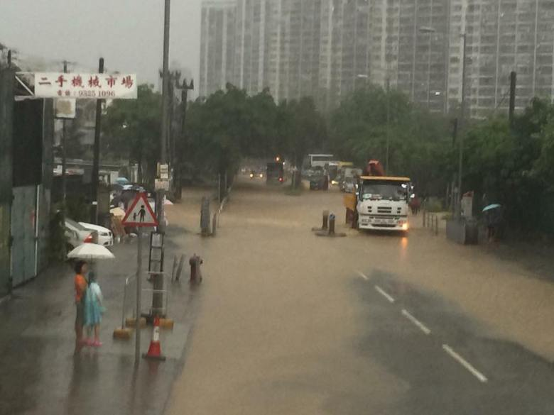Flooded roads in Yuen Long
