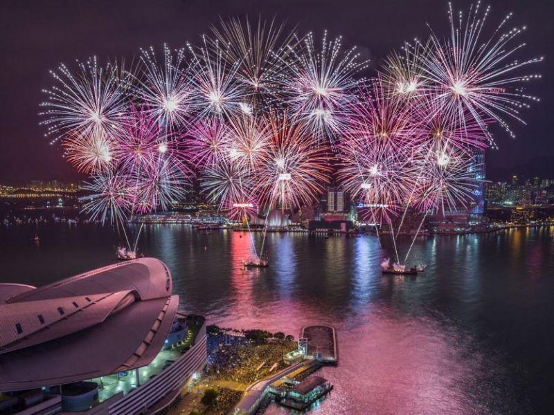 hong kong skyline fireworks