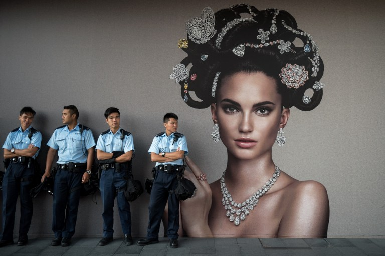 police woman democracy occupy hong kong protest