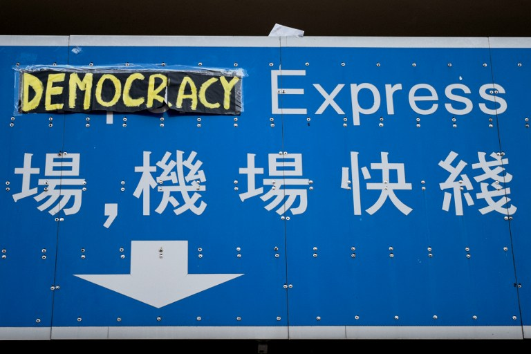 sign democracy occupy hong kong protest