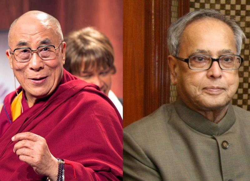 Indian President Pranab Mukherjee dalai lama