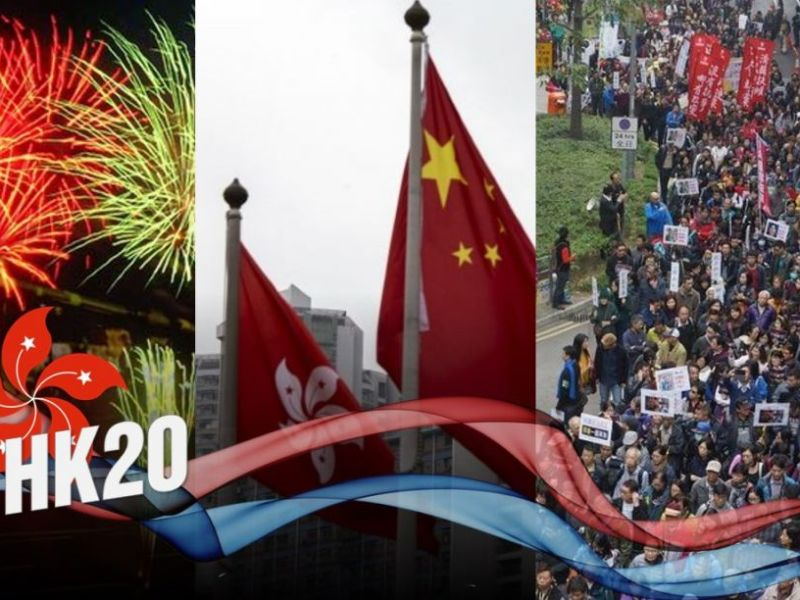celebrations hong kong demonstrations