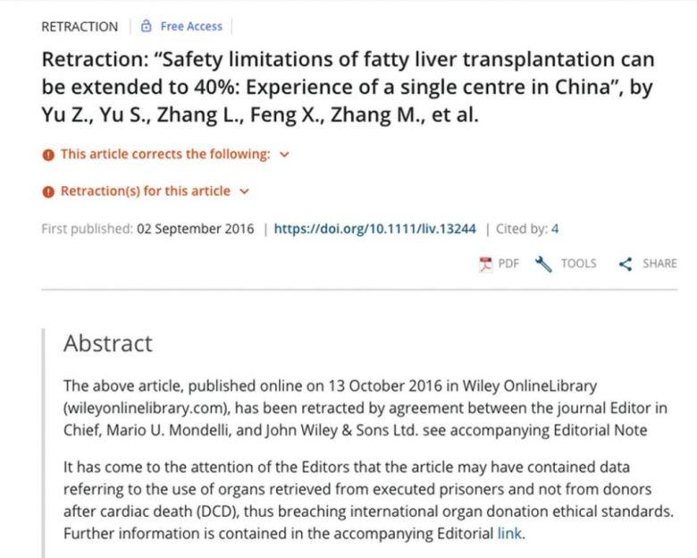 article retraction organ transplant