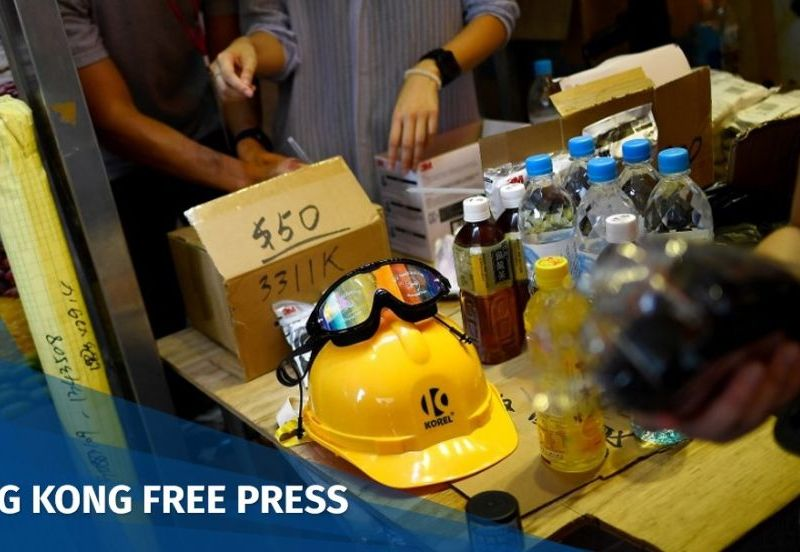 Hong Kong protes pop-up store goggles helmet gas mask