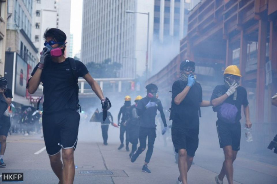 October 1 National Day protests Hong Kong Island Wan Chai Admiralty Causeway Bay tear gas