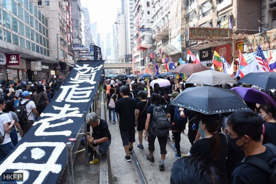 October 1 national day march Cuaseway Bay Wan Chai Admiralty protest