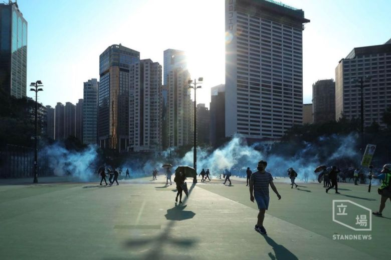 Tear gas fired in Victoria Park Causeway Bay November 2
