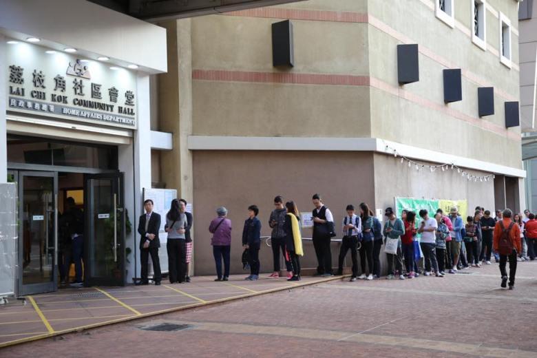 Lai Chi Kok district council queues