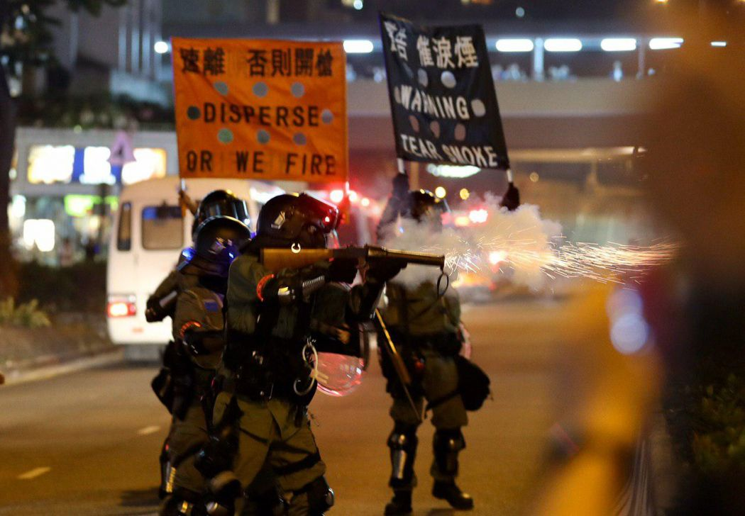 """December 1"" Kowloon police orange black flag warning tear gas protester"