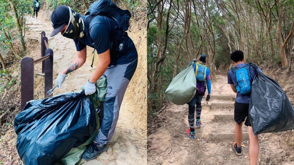 hikers clean up hk mountain trails