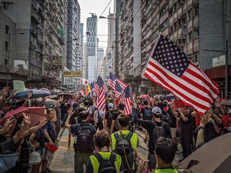 September 29, 2019 anti-totalitarian march protest US flag