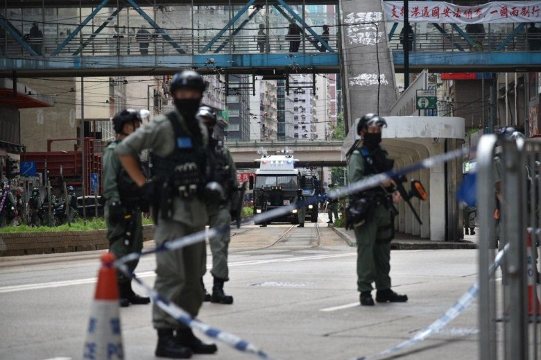 police cordon protest causeway bay 1 July 2020